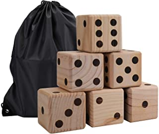 Suwimut 6 Pack Giant Wooden Yard Dice Game Set for Kids, Lawn Outdoor Gaming Dice Set with Drawstring Bag