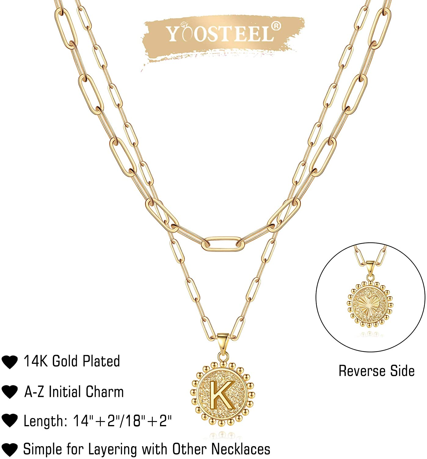 Yoosteel Gold Initial Necklaces for Women Girls, 14K Gold Plated Dainty Layering Paperclip Link Chain Necklace Personalized Coin Initial Layered Gold Necklaces for Women