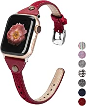 Wearlizer Compatible with Apple Watch Bands 38mm 40mm Series 5 4 Woven Canvas Fabric Cloth Womens Mens Band Rose Gold Strap Wristband for iWatch Series 3 2 1 42mm 44mm (Red, 42mm/44mm)