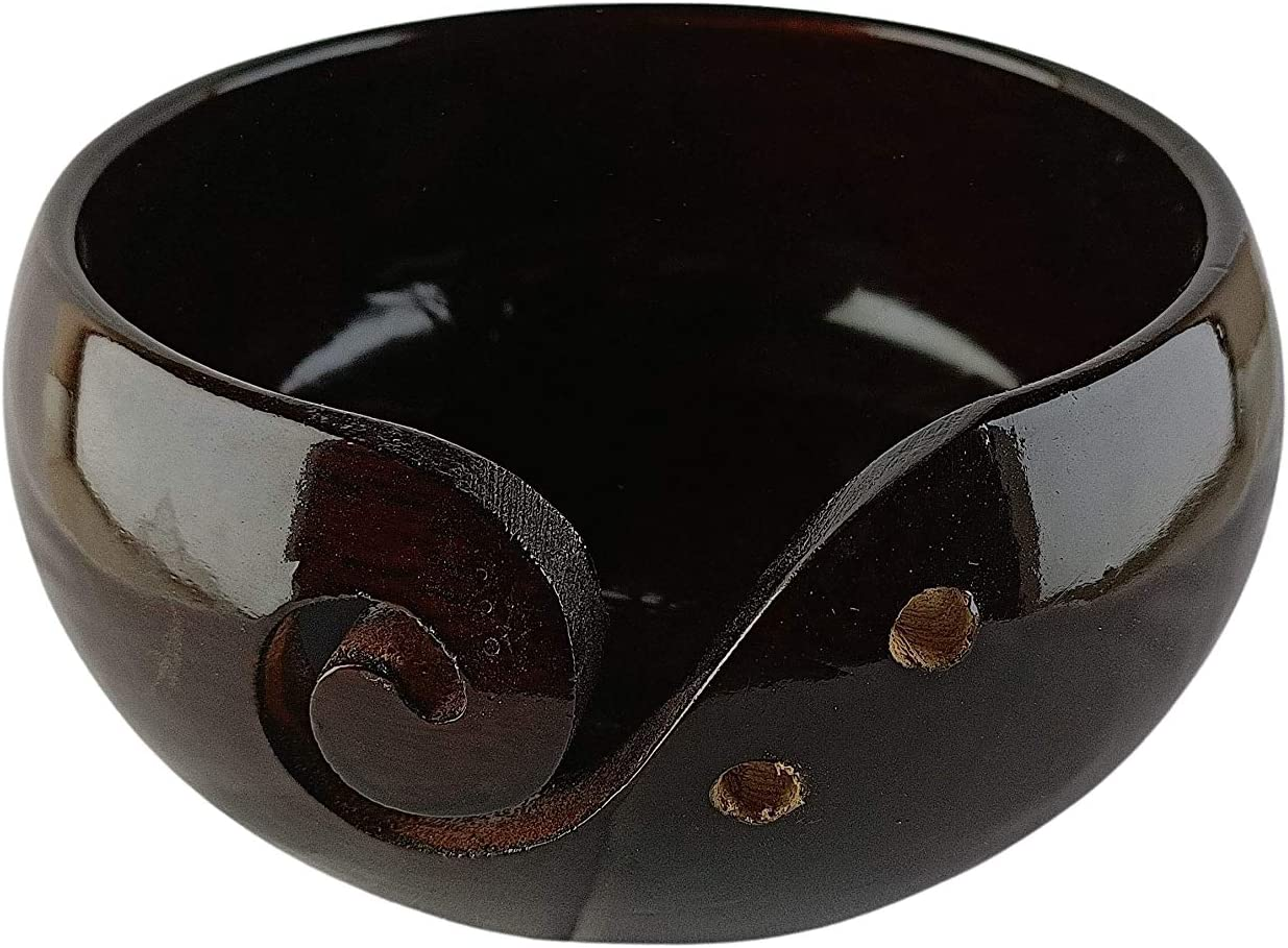 IBLAY Wooden Yarn Bowl Holder Rosewood Excellence Knitting - Hole with quality assurance