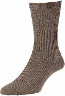 4 Pair Pk Hj Hall Hj90 Wool Rich Softop Loose Top Non Elastic Socks 4-7 Taupe