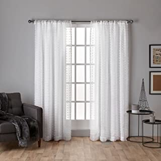 Exclusive Home Curtains Spirit Sheer Rod Pocket Top Panel Pair, Winter White , 54x108, 2 Piece