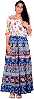 Rajvila 36 Inch Length Women's Cotton Printed Regular Long Elasti Skirt for Women (E_E36NT_0003)
