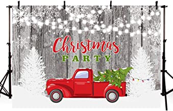 MEHOFOTO 7x5ft Winter Christmas Party Snowflake Wood Wall Backdrops Red Truck with Christmas Tree Lights Glittering Photography Background Merry Xmas Holiday Decoration Photo Booth Props Banner
