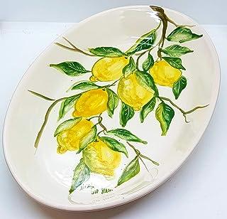 Piatto Ovale Linea Limoni Ceramica Realizzato e Dipinto a mano Le Ceramiche del Castello Nina Palomba Made in Italy Dimens...