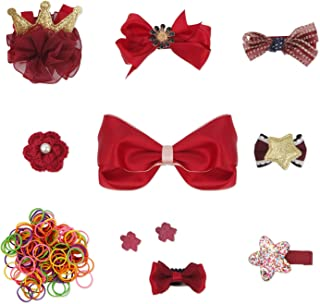 QUMY Dog Hair Clips Mixed Styles Varies Patterns Bows Pet Hair Accessories Grooming Product Hair Clips for Little Girls, 10 Piece