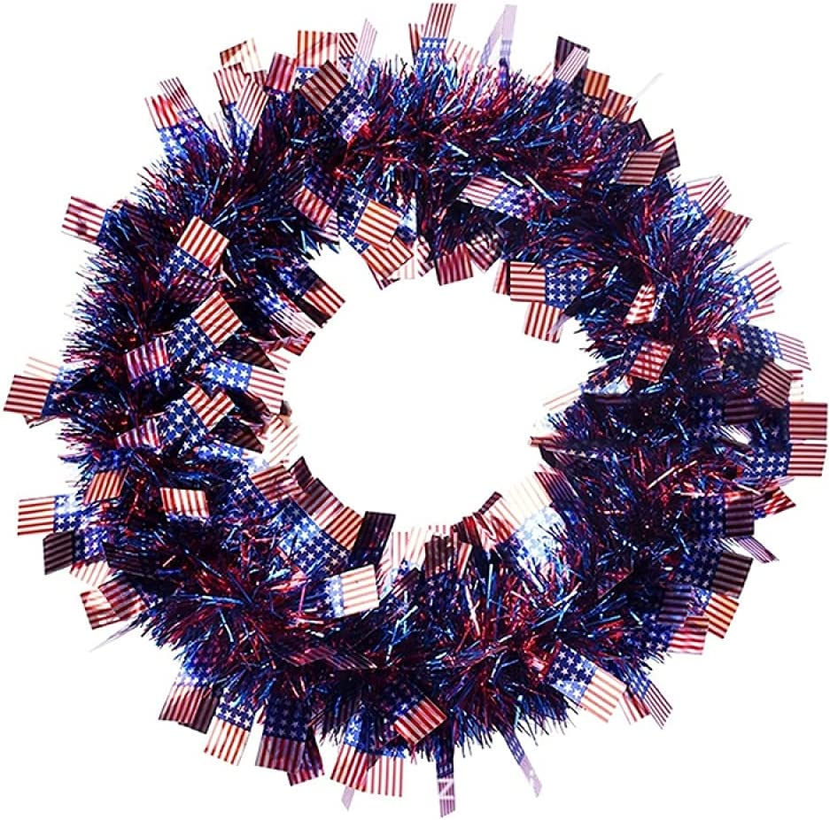 NO ONE Patriotic Wreath American Flags Opening large release sale of 4th July Tinsel Financial sales sale