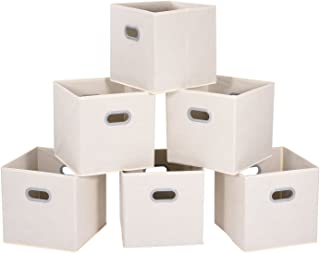 MaidMAX Cloth Storage Bins Cubes Baskets Containers with Dual Plastic Handles for Home Closet Bedroom Drawers Organizers, Foldable, Beige, 12×12×12″, Set of 6