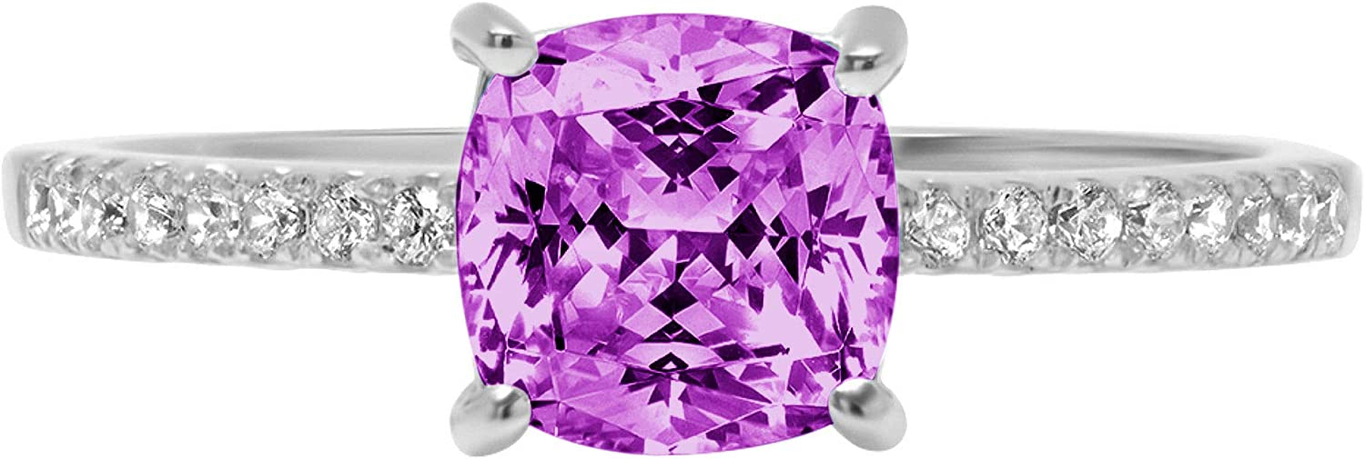 free shipping Department store 1.66ct Brilliant Cushion Cut Solitaire Flawless Accent Genuine S