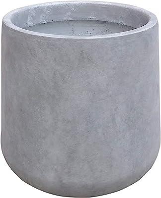 Kante RF2015022B-C80021 Modern Lightweight Footed Tulip Outdoor Round Planter, Natural Concrete