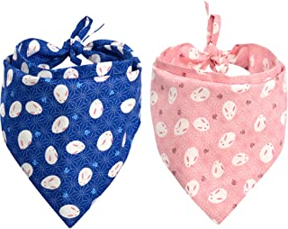 KZHAREEN 2 Pack Dog Bandana Reversible Triangle Bibs Scarf Accessories Japanese Style for Dogs Cats Pets