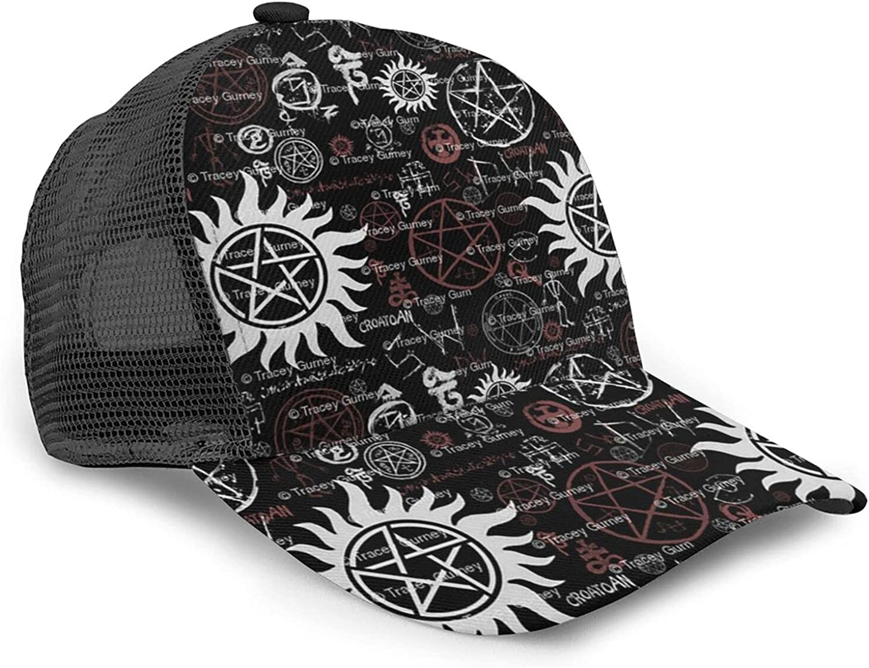 Gocerktr Supernatural Symbols Black Baseball Caps for Women Men Adjustable Mesh Vented Trucker Hat