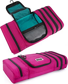 Pro Packing Cubes Travel Toiletry Bag - Packs Flat To Save Space - Waterproof Hanging Toiletries Kit For Men and Women (Large, Pink-Aqua)