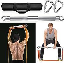 DASKING Fitnessbanden, weerstandsbanden, afneembare trainingsbar, oefenbanden, powerlifting-fitnessstang, zilver (maximale...