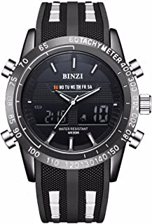 Digital reloj deportivo, Exterior impermeable reloj de pulsera con despertador Cronógrafo y cuenta atrás Reloj LED luz goma negro Pantalla Digital Relojes