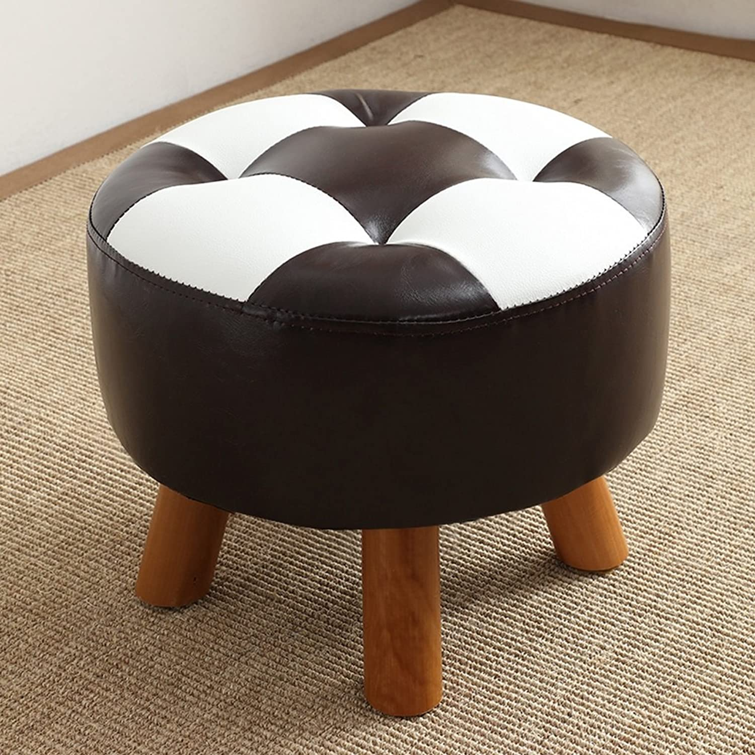 Imitation Leather Change shoes Stool Sofa Footstool Solid Wood Round Low Chair (color   A)