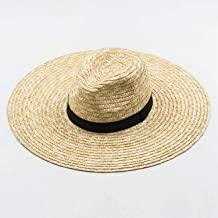 BSbattle Summer White/Black Boater Hats for Women Wheat Straw Beach Hat with Wide Brim Hat