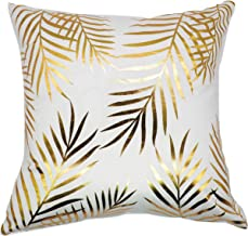 GiftKing Couch Throw Pillow Case, White with Gold Foil Design Cushion Cover - Pillowcase only 17 x 17 (1, Gold Foil Leaves)