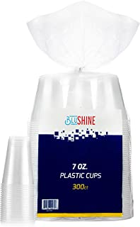[300 Pack] 7 Ounce Clear Plastic Disposable Cups by BluShine – BPA-Free, Durable, Stackable & Crack Resistant Drinkware - ...