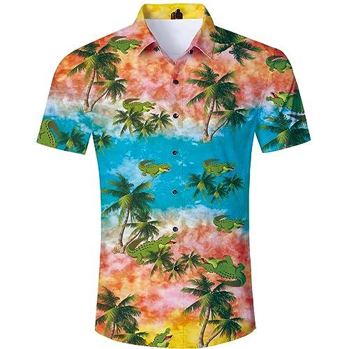 813c14d6 TUONROAD Men's 3D Printed Flower Hawaiian Shirt Casual Tropical Beach  Holiday Aloha Short Sleeve Button Down