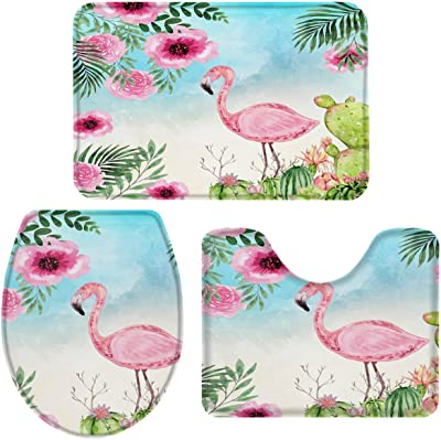 T&H XHome Bath Rug Sets 3 Piece for Bathroom,Summer Cactus Flamingo Watercolor Gradient Ultra Soft Durable Memory Foam Bath Mats Set (Anti-Slip Absorbent Machine Washable)