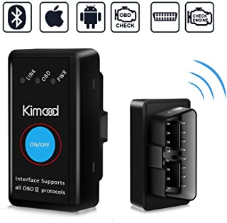 OBD2 Bluetooth 4.0 Kimood Nueva Versión Auto Diagnostico de Coche OBD2 Diagnosticos, Mini adaptador inalámbrico OBD2 Bluetooth para iPhone iOS Android Windows Symbian Tablet Smartphone, Negro