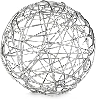 Modern Day Accents5052Guita XL Wire Sphere Guita Silver Wire Spheres, Silver, Iron, Filler, Modern, Wire Work, Tabletop, Home, Office, 12