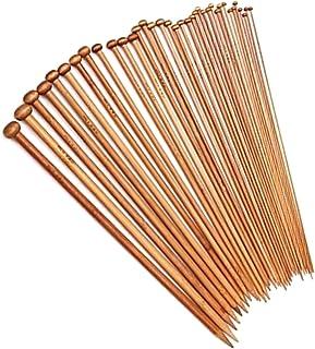 FAMKIT Lot de 36 aiguilles à tricoter ergonomiques en bambou pour tricot de chaussettes, châle, couverture, écharpe, pulls