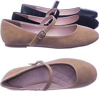 City Classified Women Comfortable Padded Mary-Jane Round Toe Ballet Ballarina Flats Natural Beige