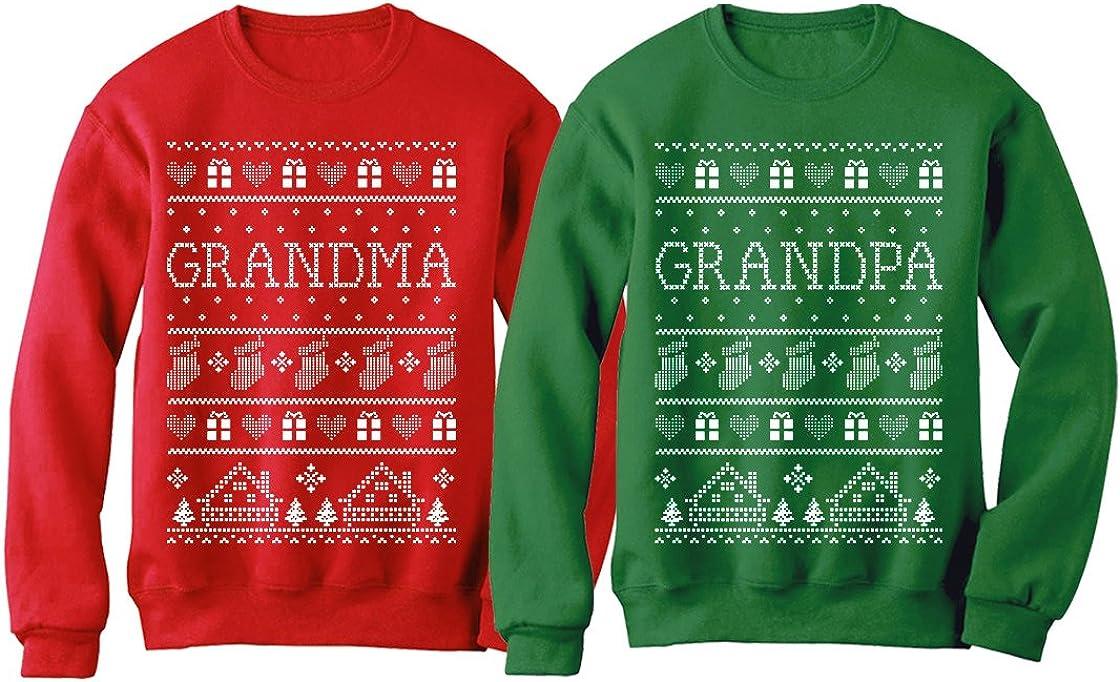 Grandma  Grandpa Matching Ugly Christmas Sweatshirts Set Grandp
