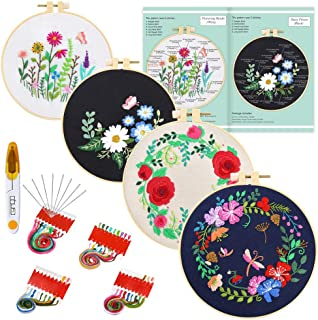 Caydo 4 Sets Full Range of Embroidery Starter Kit with Pattern and Instructions, Cross Stitch Kit Include Embroidery Clothes with Floral Pattern, Plastic Embroidery Hoops, Color Threads and Tools
