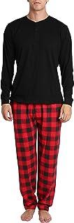 Hombres Conjunto de pantalón de Camisa de Pijama con Botones de Henley de Manga Larga de algodón para Adultos
