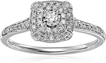 10K White Gold Diamond Cushion Engagement Ring (1/4cttw, I-J Color, I2-I3 Clarity), Size 7