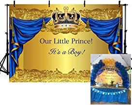 MEHOFOTO Royal Celebration Prince Baby Shower Celebration Gold Crown Photo Studio Booth Background Blue Curtain Boy Backdrops for Photography 7x5ft