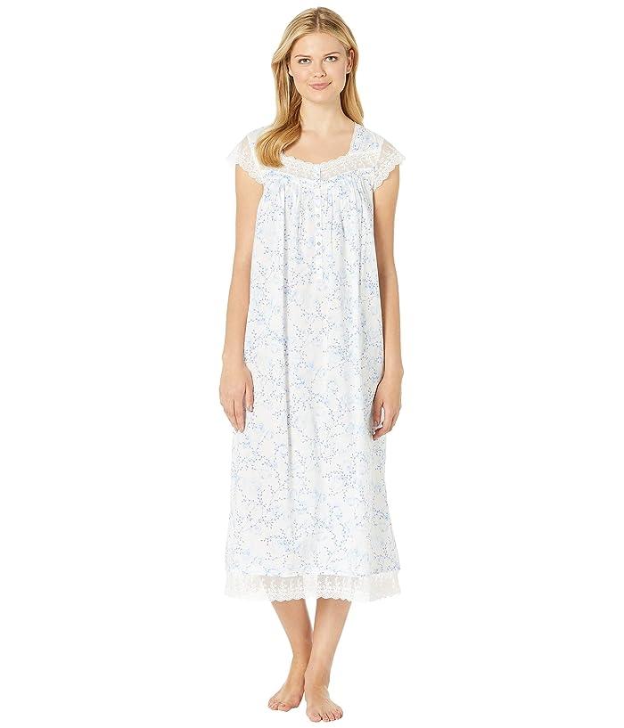 Eileen West Cotton Woven Lawn Ballet Cap Sleeve Nightgown (White Ground Floral) Women