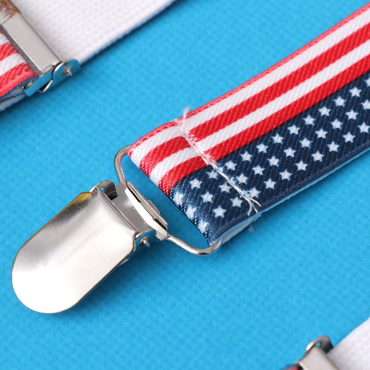 US Flag Clip-on Suspenders Adjustable Printing Elastic Y-Shaped Braces for Men Women