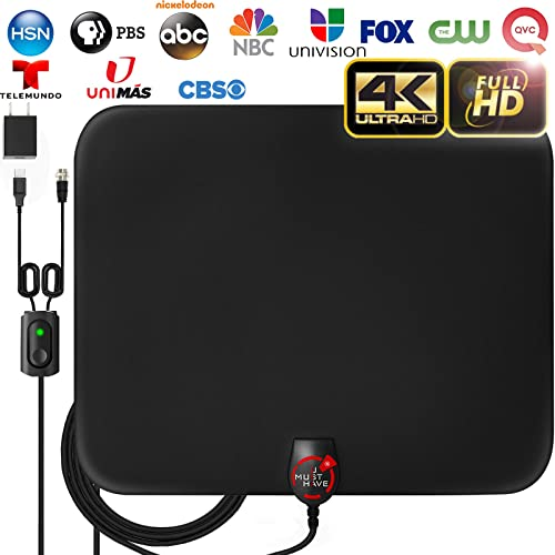 [2020 Latest] Amplified HD Digital TV Antenna Long 180 Miles Range - Support 4K 1080p Fire tv Stick and All Older TV's Indoor Powerful HDTV Amplifier Signal Booster - 18ft Coax Cable/AC Adapter product image