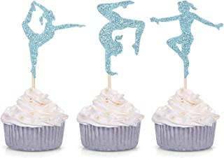 24 Blue Glitter Gymnastics Cupcake Toppers Gymnast Girl Birthday Party Gym Theme Decorations ¡­