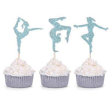 Pink Gymnastics 24 Personalised Pre-Cut Edible Cupcake Toppers Girls Daughter