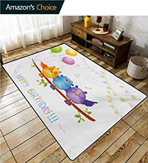 Kids Birthday Geometric Door Mats Area Rug, Celebration Owls Sitting on a Branch with Balloons on Abstract Backdrop Art Fashionable High Class Living Bedroom Rugs, (8'x 10') Multicolor