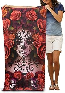 BOOB HACD Sugar Skulls and Roses Day of Dead Halloween Adults Fiber Maximum Softness and Absorbency Beach/Bath/Pool Towel