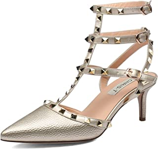 3515965b6a3 Chris-T Women s Pointy Toe Buckle Sandals Studded Slingback Kitten Heels  Studs Leather Dress Pumps