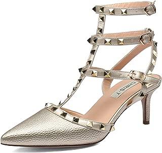 Women's Studded Kitten Heel 65mm Heeled Sandals Pointy Toe T-Strap Adjustable Strappy Buckle Stud Dress Pumps
