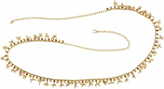 ACCESSHER Elegant Pearl, Ruby and Emerald Waist Belt for Women(Multicolour)