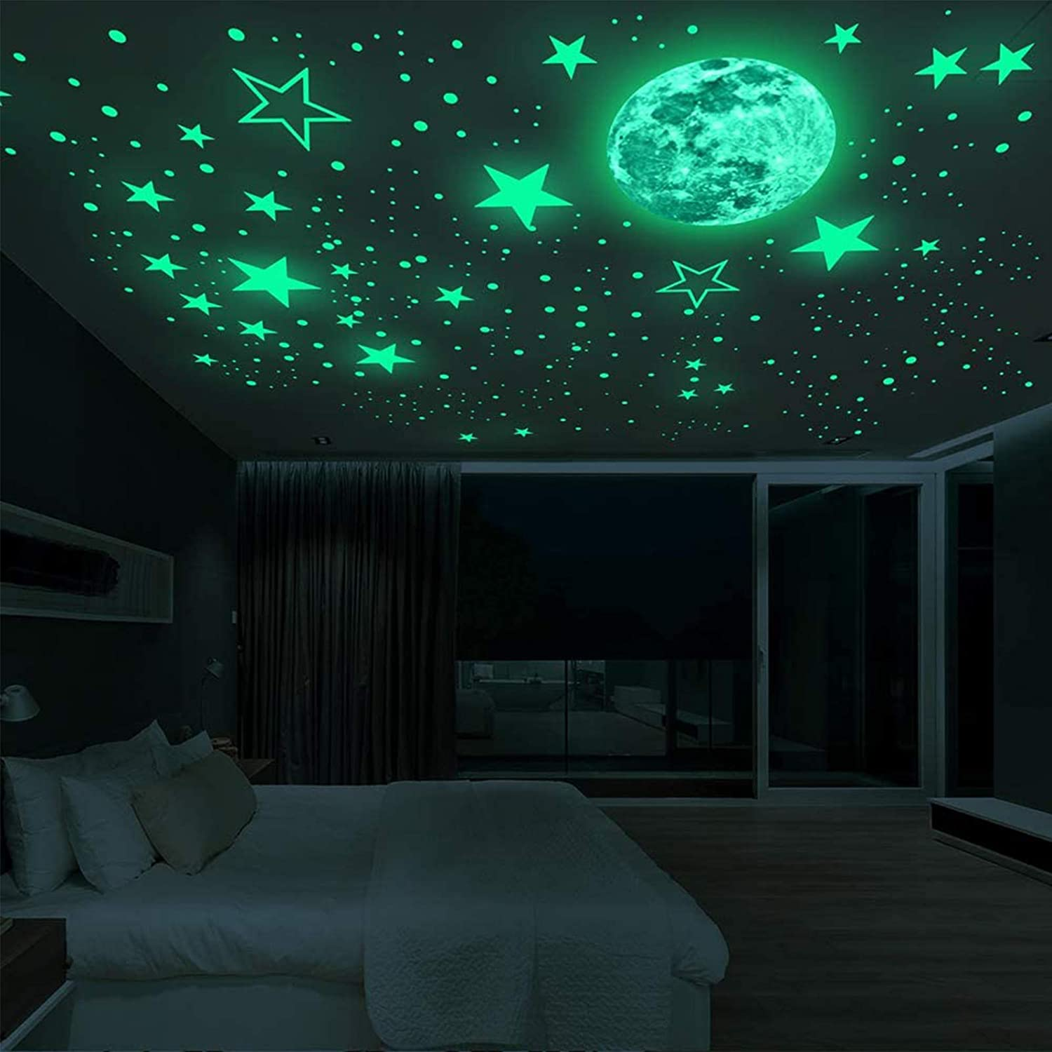 435PCS Glow in The Dark Stars Wall Stickers Moon &Planets Glowing Stars for Ceiling Kids Room Wall Decals Bedroom Decor
