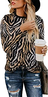 Leopard Print Tops for Women Blouses Long Sleeve Crew Neck Pullovers Loose Causal Shirts