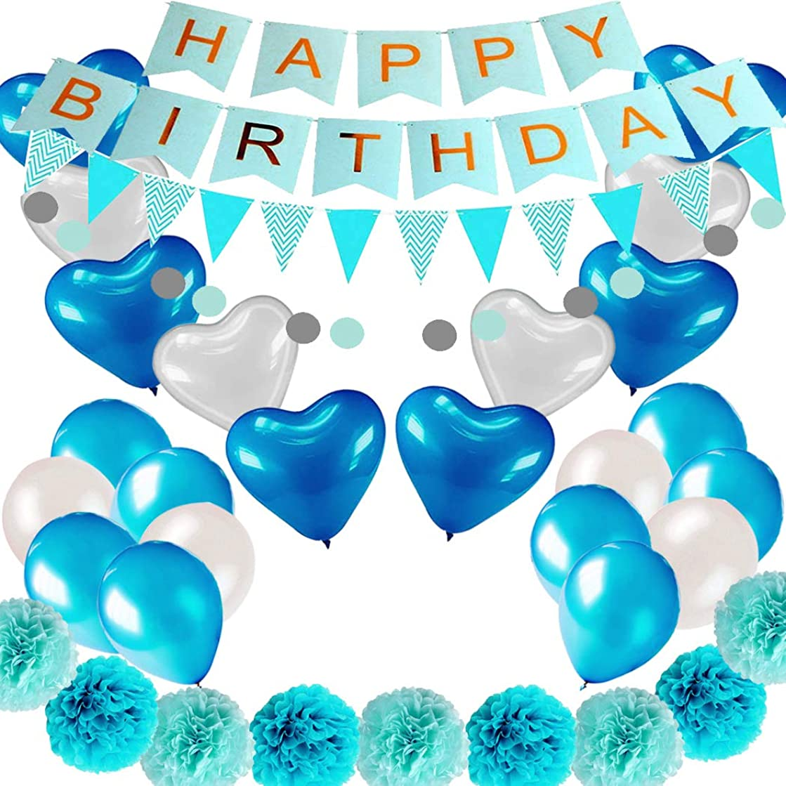 COLORFUL ELVES Blue Birthday Decorations Set for Boy Little Man Kids 29 Pcs Happy Birthday Banner Paper Pom Poms Latex Balloons Birthday Supplies Kit
