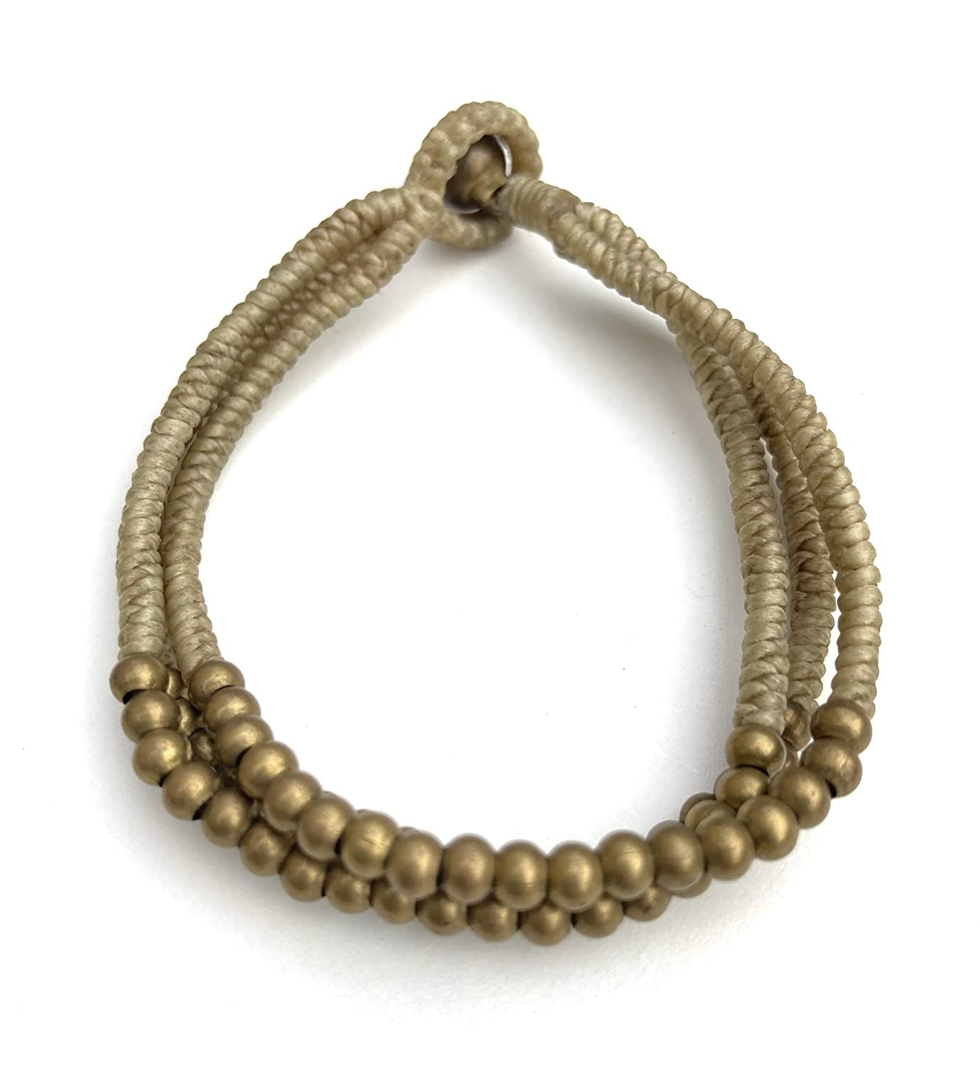 Tan Woven Wax Cord Brass Hippie Beautiful Bohe Bracelet Animer and price revision Super special price Handmade