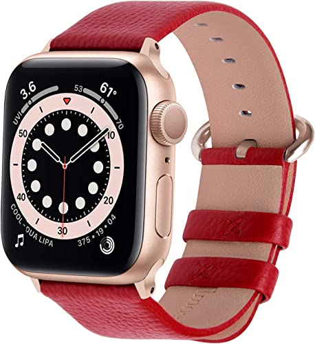 Fullmosa Compatible Apple Watch 42mm 44mm Strap 38mm 40mm Calf Leather iWatch Band Strap for Apple Watch Series SE 6 5 4 3 2 1 42mm 44mm Red Rose Gold Buckle Watch Not Included