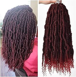 Spring Twist Crochet Hair (14inch,#1B/BUG,6pcs) Bomb Twist Curly Ends Passion Twist Hair Extensions